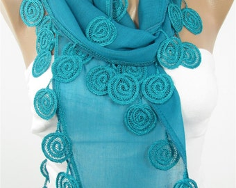 Soft Cotton Scarf Teal Green Scarf  Fashion Scarf  Scarf  Fashion Accessories  Gifts For      Holiday Gift For Women Gift For Her DERINS