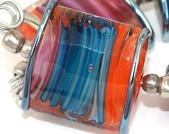 Lampwork glass beads Square Vortex Lampwork beads (5) SRA, jewelry supplies, handmade lampwork, beads