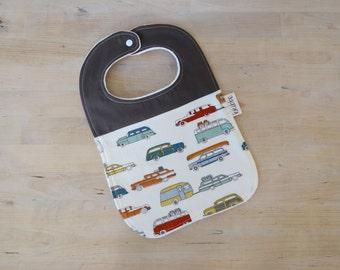 Organic Bib in Cars - Baby Shower Gift, New Baby Gift, Toddler Bib