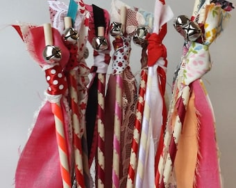 12 Valentine Bell Wands, Valentines Day Party Favors, Streamers with Bells