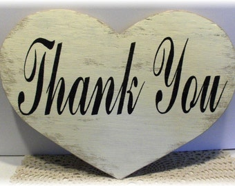 Wedding Heart Thank You White Shabby Chic Wood Sign Photo Prop