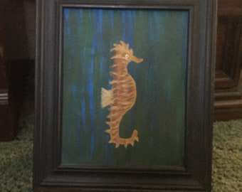Seahorse acrylic painting with frame