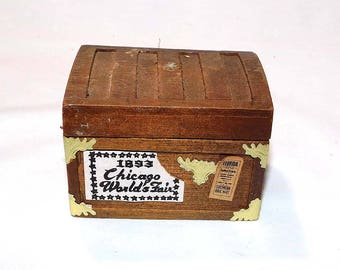 Vintage Handcrafted Miniature Dollhouse Wooden Trunk - Dollhouse Furniture - Dollhouse Collector