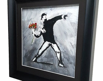 Hooligan Flower Thrower- Banksy Inspired - Original Canvas Painting FRAMED and Finished , Poster, Print, Paint