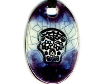 Dia de Muertos Skull Necklace in Purple and Blue