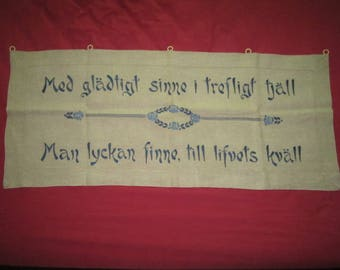 Vintage Exceptional Perfect 41x17 Linen Wall Hanging Curtain Panel with Blue Satin Stitch Embroidery Swedish Happiness Phrase
