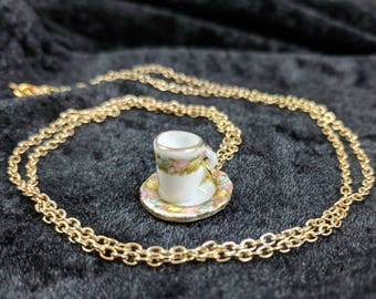 Teacup and saucer necklace #201