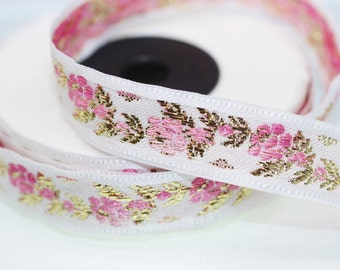 16 mm White Front Pink-Gold Floral Jacquard ribbon (0.62 inches) - jacquard trim - Balkans Decorative Ribbon - Sewing trim - collar trim -
