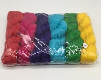 Rainbow set - hand-dyed 8ply/DK yarn - 300g