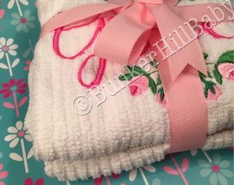 Personalized Hand Towels Set of 2 Rosebud Roses
