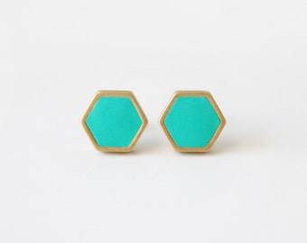 Turquoise Geometric hexagon stud earrings