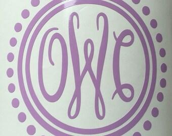 Script Monogram with Polka Dot/ Yeti/ Vinyl Sticker /Car Decal/ Monogram Decal/ Vinyl Decal/ Custom Decal/ Monogram Custom/ Gifts for her