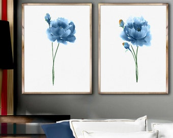 Peony Print Art Painting Set 2 Blue Peony Watercolor Abstract Flower Poster Wall Decoration Blue Peony Illustration Minimalist Art
