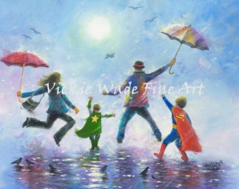Two Boys Super Hero Art Print, two brothers, happy family dad mom, super hero kids, rain family art, two sons paintings, Vickie Wade