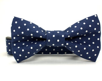 Navy Blue and White Dot Dog Collar and Removable Dog Bow Tie Set | Made to Order | Wedding Dog Collar | Boy Dog Collar