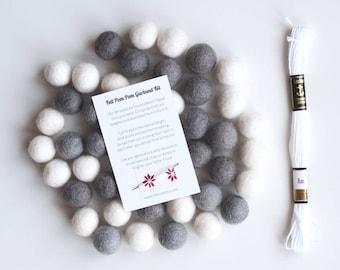 Felt Ball Garland Kit, DIY Garland, Grey White Felt Ball, Felt Pom Poms