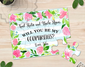 Asking Godparents Gift  Godmother Card  Watercolor Painting Floral Puzzle Proposal Ask to Be My Godparents Will You Be My Fairy Godmoter