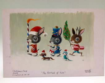 Christmas bunnies, The FESTIVAL OF YULE original artwork, painting by Martin Harris