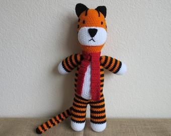 Crochet Hobbes- Inspired Tiger Toy stuffed tiger amigurumi jungle lion zoo wild animal cub cat stuffed animal