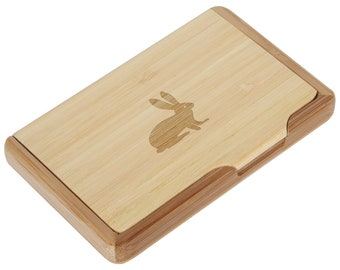 Rabbit Bamboo Business Card Holder With Laser Engraved Design - Business Card Keeper - Holds Up To 10 Cards