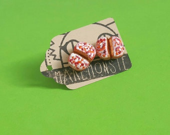 Miniature Lithop Succulent stud earrings -- hand painted polymer clay living stone