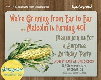 Farm surprise birthday invitation, farmers birthday, farming party invite, mens surprise party invitation, corn, funny, any age 1 to 100