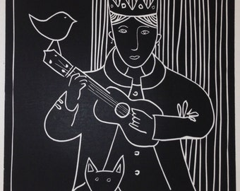 You, Me and the Ukulele - Editioned Lino Print of 50