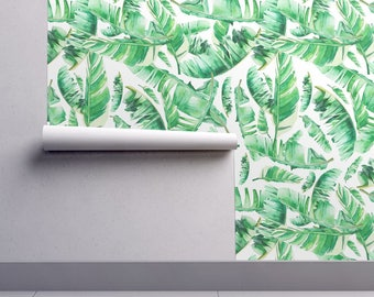 Wallpaper Roll - Floral Tropical Leaves/White Background By Shopcabin - Custom Printed Removable Self Adhesive Wallpaper Roll by Spoonflower