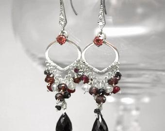 Garnet, diamond and spinel earrings - sparkly, feminine gemstone earrings. Sterling silver, quartz, zircon, ruby hand made unique gift red