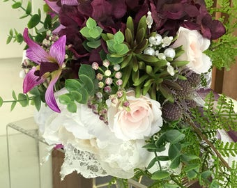 CUSTOM Bouquet, Succulent Bouquet, Wedding Decorations, Bride Bouquet, Silk Flower Bouquet, Keepsake Bouquet, Silk Wedding Flowers