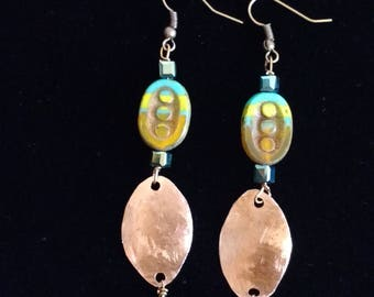 Hammered Cooper Oval Multi Colored Beaded Drop Earrings