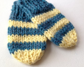 Hand Knit Merino Wool Baby Mittens - Blue/Yellow Stripes