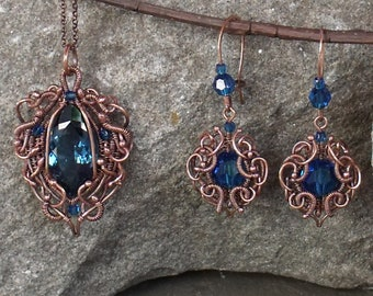 Earrings, Necklace - London Blue Topaz in Copper Wirework Necklace and Earring Set