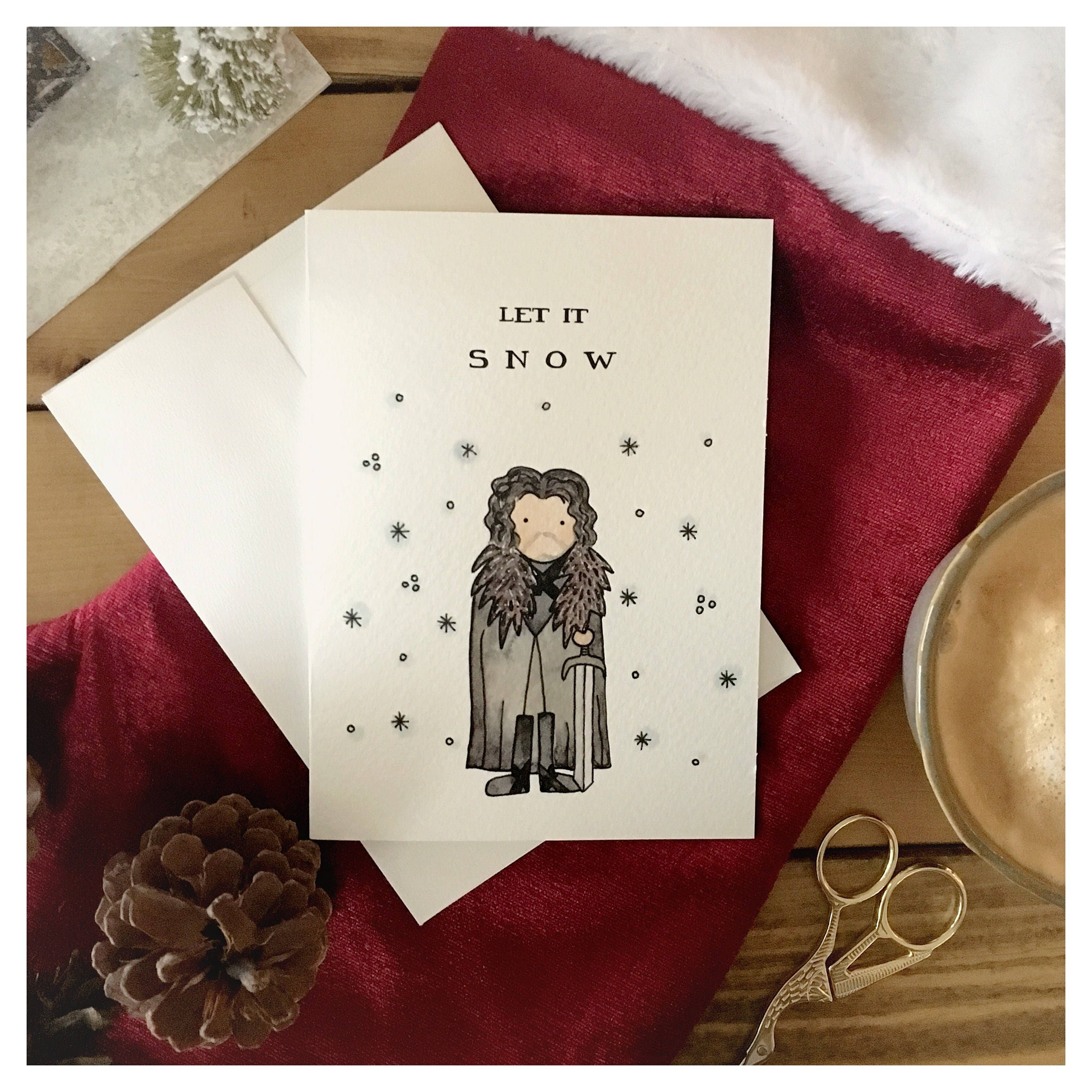 Brand-new Let it Snow // Jon Snow, Game of thrones, pun, funny card  HG42