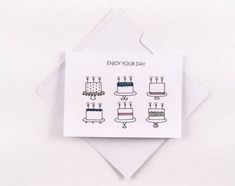 Cute Birthday Card / Cake Card / Fun Birthday Card / Lots of Cake / Black and White Card / Simple Card / Cute Cake Card / Enjoy Your Day