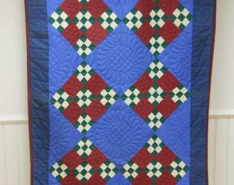"""Amish, Lancaster County, Nine Patch on Point Quilt.   60"""" x 42""""   Fabulous Quilting!"""