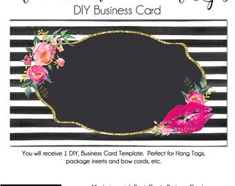 DYI Blank Business Card Template - Oh Carolina 2 with Lips - LipStickMarketing, Makeup Aritst, Business Card Template, Lips, LipGloss