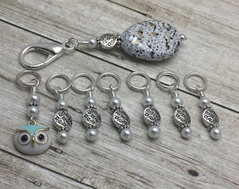 Owl Stitch Marker Set with Holder, Snag Free Stitch Markers, Knitting Gift