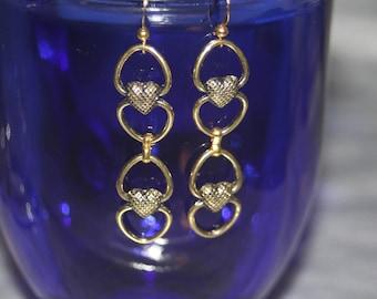 Heart Chain Dangle Earrings