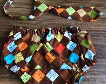 Baby Boy Brown Argyle 6-12 months Necktie and Diaper Cover, Fall or Autumn Picture Outfit, Baby Boy First Birthday