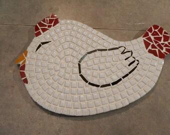 Flat mosaic White Hen trivet