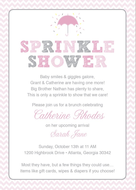 Baby Gifts For Second Boy : Pink baby sprinkle shower invitation grey girl chevron