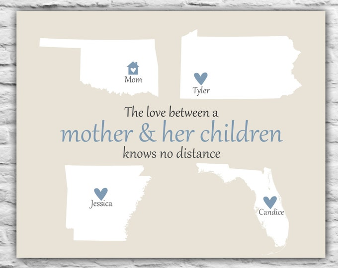 Personalized Mothers Day Gift Ideas for Mom, From Us, Long Distance Map Print, from Daughters, Christmas Group Gift, State Maps, World, 8x10