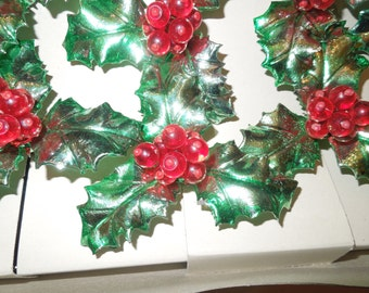 Antique Holly String of 10 Lights Made in Italy Montgomery Ward 1963 Unused and Working Condition