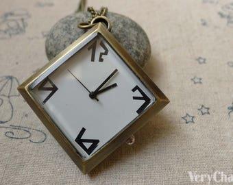 1 PC Antique Bronze Diamond Shape Pocket Watch Pendant 36mm A6195