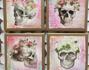 COASTERS!!! Floral skull coasters with gold trim