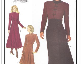 "BUTTERICK Pattern 3670 - Misses' ""Expo"" Semi-fitted Flared Dress w/Raised/Shaped Waist - Color Block - Sz 12-14-16 - Uncut/FF - Vtg 1994"