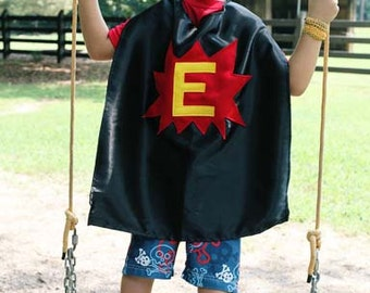 Super Hero Cape - Personalized Cape with Star, Pow, Heart or Lightning Bolt - Super Hero Capes for Kids - Ships Quickly - Custom Initial