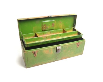 vintage rusty green toolbox