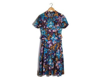 Vintage 60s floral short dress / colurful floral dress / as seen in fashion week / boho retro dress / short floral spring dress / size